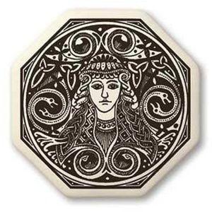 Brigid Celtic Goddess Necklace Porcelain Pendant